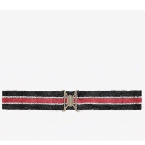 NWT Express Beaded Red Black Stripe Stretch Belt